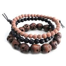 bracelet skull beads images Amigaz wood skull bead bracelets 166 3658 j p cycles jpg
