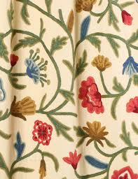 Cotton Drapery Panels Wular Crewel Curtain Panels And Drapes Hand Embroidered Cotton Fabric