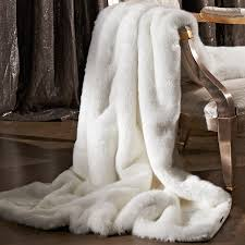 natural arctic leopard limited edition faux fur throw blankets