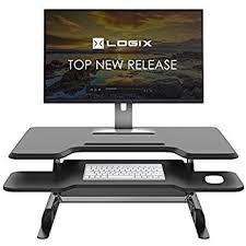 Desk Risers For Standing Desk Amazon Com Lorell Sit To Stand Monitor Riser Black Computers
