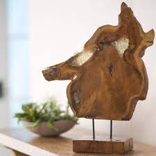 Teak Wood Resin Filled Teak Wood Slice Sculpture Vivaterra