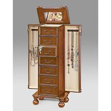 brown jewelry armoire acme furniture jewelry armoires bedroom furniture the home depot