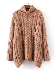 knit oversized sweater cable knit turtleneck oversized sweater shein sheinside