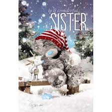 3d holographic sister me to you bear christmas card 3 79 teddy