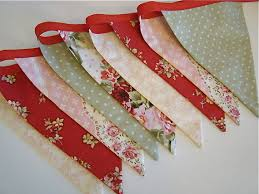 Shabby Chic Clearance by Fabric Banner Shabby Chic Girls Room Red Green And Pink Bunting