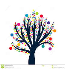 abstract tree with colored leaves and fruits stock vector image
