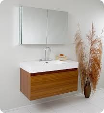Contemporary Bathroom Vanities by Fresca Mezzo Teak Modern Bathroom Vanity With Medicine Cabinet