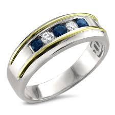 two tone mens wedding bands 14k two tone gold diamond sapphire men s wedding band