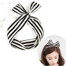 wire headband free shipping korean lovely dot rabbit bunny ear ribbon metal wire