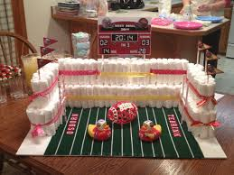 my football stadium diaper cake i built craft ideas pinterest