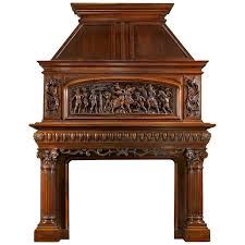 Renaissance Home Decor 19th Century Antique French Fireplace Mantel Carved In Walnut For