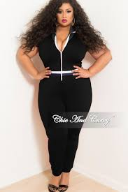 white jumpsuit plus size plus size black ruffle sleeves zip up jumpsuit with