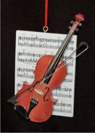 violin with musical score personalized ornaments by