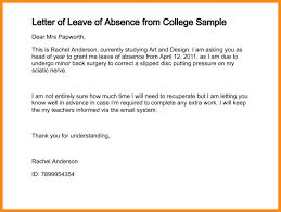 College Application Letter For Leave 8 Application For Leave Of Absence From Work Musicre Sumed