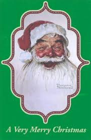 norman rockwell santa box of 12 cards by american greetings