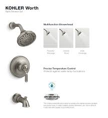 kohler worth 1 handle 3 spray tub and shower faucet in vibrant