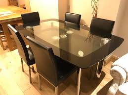 dining room sets 6 chairs glass dining table set with 6 chairs black and chrome finish