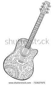 acoustic guitar zentangle stylized pattern vector stock vector