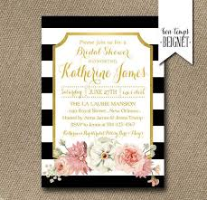 black and white striped wedding invitations floral with black and white stripe bridal shower invitation 5x7