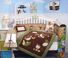 Boy Monkey Crib Bedding Jungle Safari Brown Monkeys Baby Boys 4pc Animal Themed Nursery