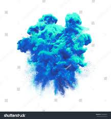 paint powder blue color liquid splash stock illustration 740388052
