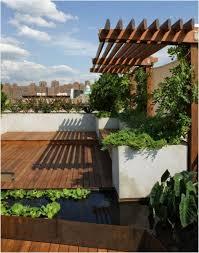 terrace garden design ideas modern wooden deck orange fence design