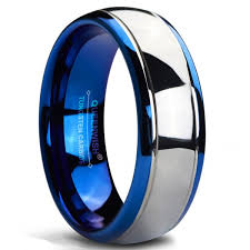 mens blue wedding bands queenwish 8mm tungsten carbide wedding band blue silver dome