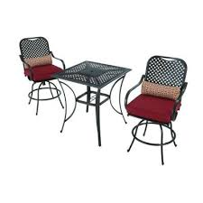 Patio High Table And Chairs Amazon Com Hampton Bay Fall River 3 Piece Outdoor Patio High
