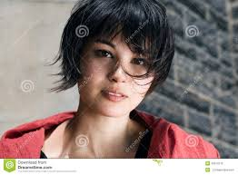 haircut photos freckles japanese girl with short hair with freckles stock photo image