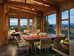 Log Cabin Dining Room Furniture Concrete Cabin Kitchen Rustic With Barn Door Transitional Dining