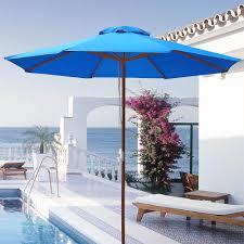 Ebay Patio Umbrellas by 9 U0027 Ft 8 Ribs Patio Wood Umbrella Wooden Pole Outdoor Sunshade