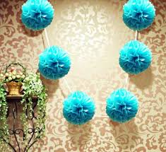 ez fluff 6 turquoise hanging tissue paper flower pom pom
