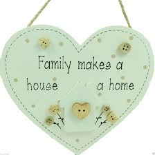 heart shaped family makes a house a home shabby chic wooden sign c