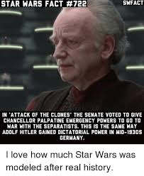 Star Wars Love Meme - swfact star wars fact 722 in attack of the clones the senate voted