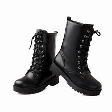 female biker boots new fashion women platform boots 2016 lace up round toe womens