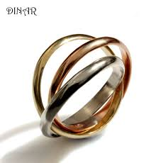 intertwined wedding rings tri color ring intertwined rolling ring three 3mm wide