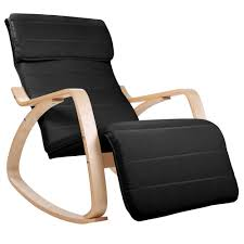 Black Rocking Recliner Birch Plywood Adjustable Rocking Recliner Lounge Arm Chair W