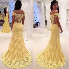 fabulous 2016 yellow lace off shoulder mermaid evening dresses