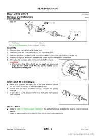 nissan 350z drive shaft nissan 350z 2007 z33 rear axle workshop manual