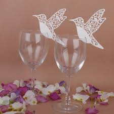 wine glass party favor 50 white humming birds wedding table name place cards