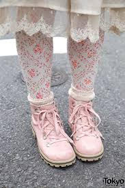 shabby chic clothing floral tights and pink hiking boots love