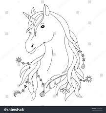 unicorn black white tattoo coloring stock vector 712755265