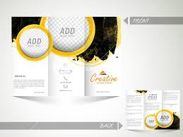 sided tri fold brochure template front and back side presentation of a creative abstract trifold