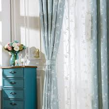 Blue Green Sheer Curtains Soul Cotton Embroidered Curtains Light Blue White Leaves