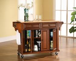 crosley furniture natural wood top kitchen cart in classic cherry