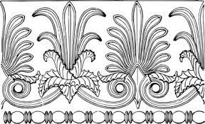 classic outline plants flowers border historic ornament decoration