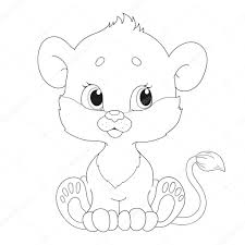 cute little lion cub character coloring book u2014 stock vector