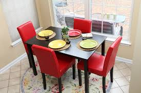 6 pc dinette kitchen dining room set table w 4 wood chair amazon com 5 pc red leather 4 person table and chairs red dining
