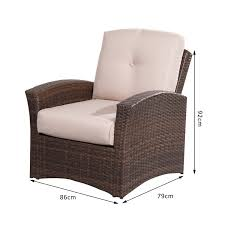 outsunny rattan armchair mixed brown khaki aosom co uk