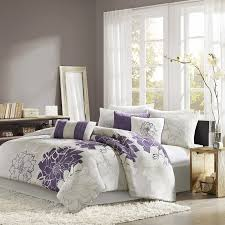 Black And Purple Bed Sets Amazon Com Madison Park Lola 7 Piece Print Comforter Set King